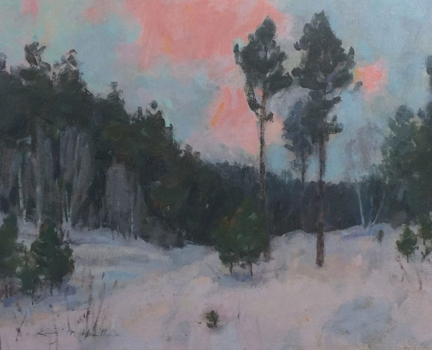 This is an oil painting by Kevin Haller. It shows the early morning light in the Black Hills forest.
