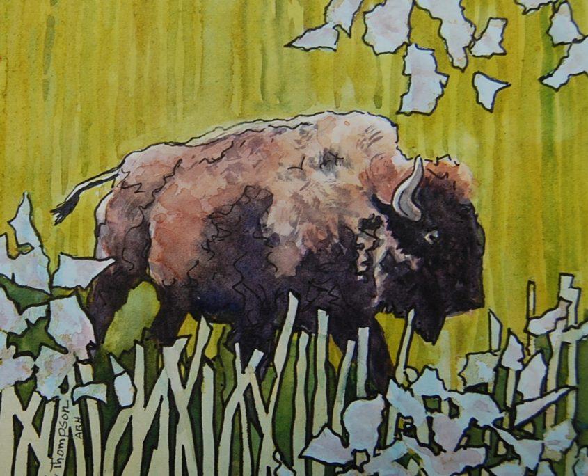 Bison in Prairie Sage Grass