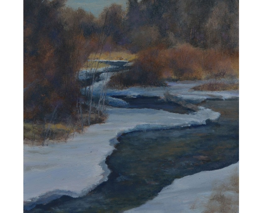 This is an oil painting depicting Rapid Creek at the end of winter when the ice is disappearing.