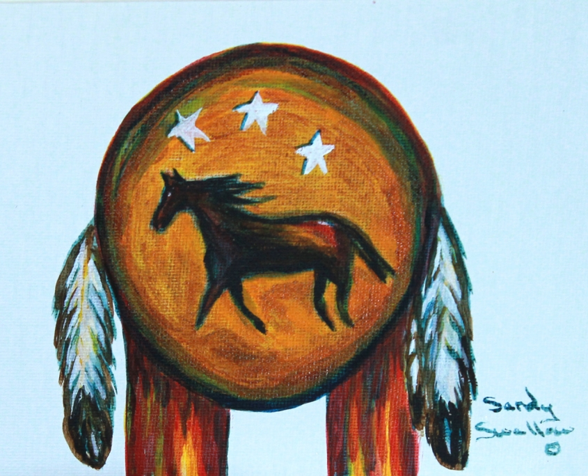 Lakota, War shield, horse,