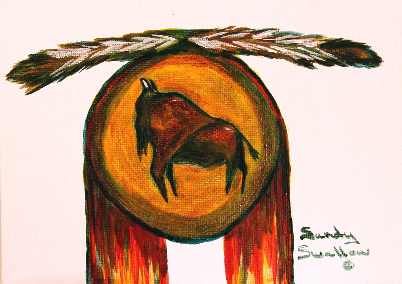 Lakota war shield with Buffalo