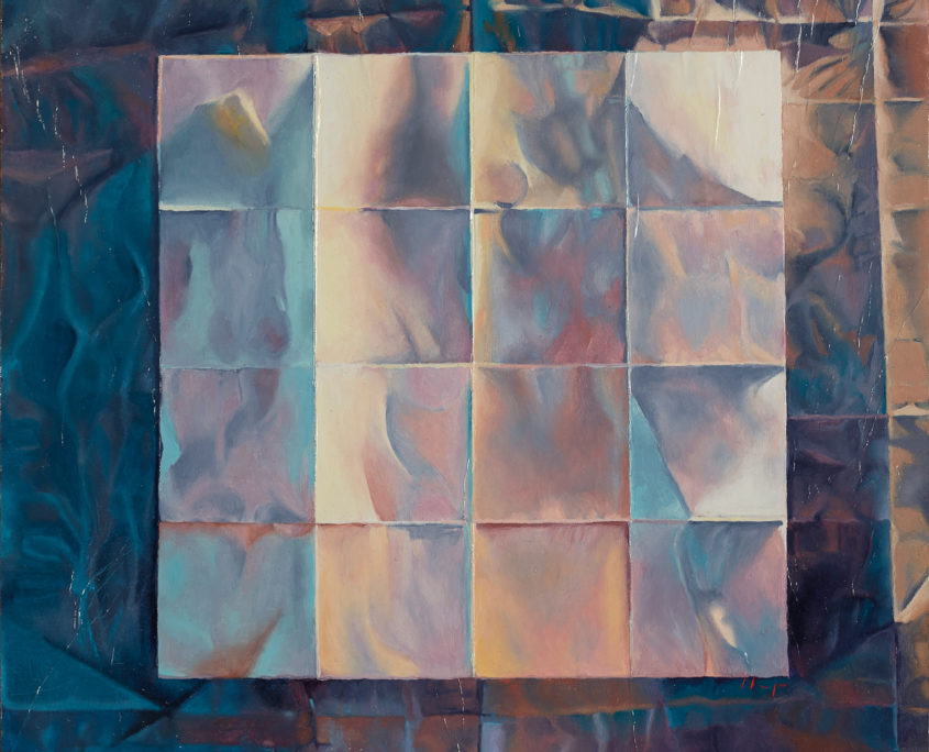 square painting with white grid in center and darker blues at edges