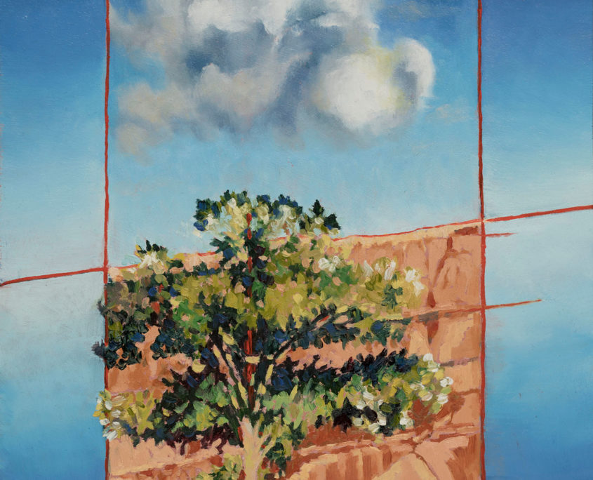 painting showing a cloud directly over a tree canopy.