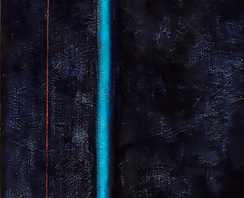 A tall slender,dark textural painting with a bright blue-green vertical streak