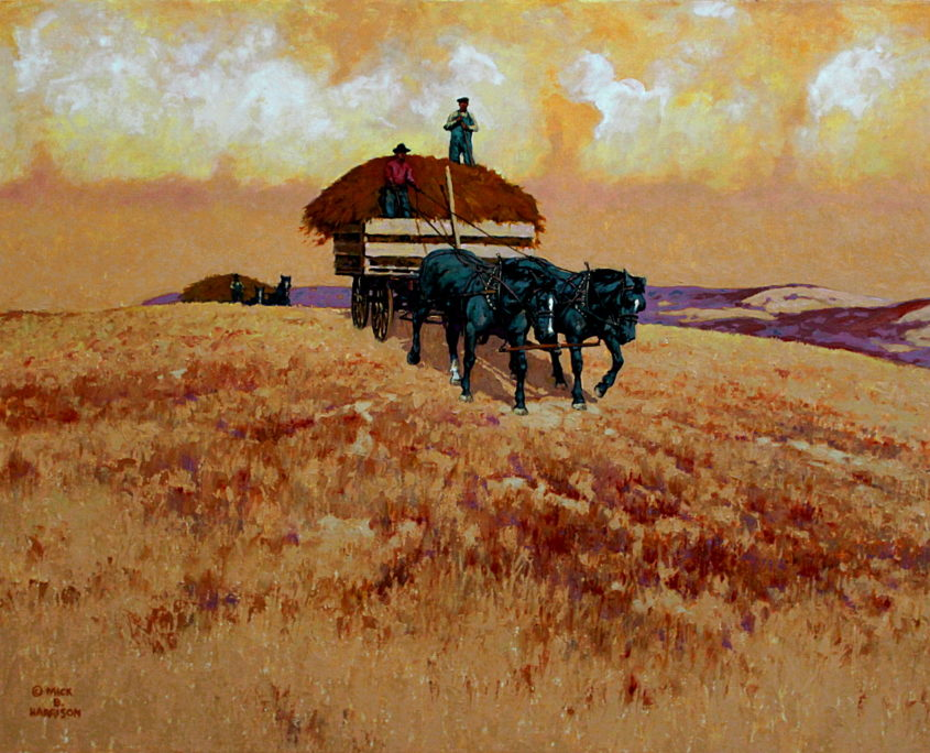 Early horse-drawn hay wagon