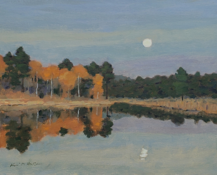 Moon Over Forest and Lake